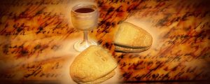 Live Events Stock Media - Chalice & Bread on Text Background