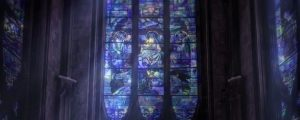 Live Events Stock Media - Towering Stained Glass Windows Blue Close