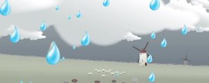 Live Events Stock Media - Windmills, Green Meadow & Rainy Clouds