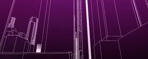 Live Events Stock Media - 3D Purple & White Wire Mesh Cityscape