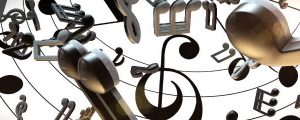 Live Events Stock Media - Glowing Black & White 3D Music Notes