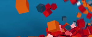 Live Events Stock Media - 3d Orange, Red & Gray Falling Cubes