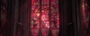Live Events Stock Media - Towering Stained Glass Windows Red Close