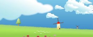 Live Events Stock Media - Windmills, Green Meadow & Fluffy Clouds