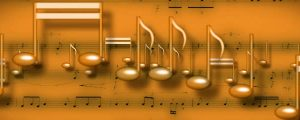 Live Events Stock Media - Gold 3D Music Notes On Music Sheet