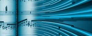 Live Events Stock Media - Abstract Music Sheets With Blue Bars