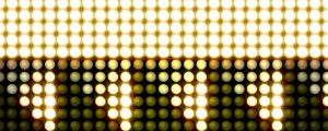 Live Events Stock Media - Golden yellow glowing led triangles 1