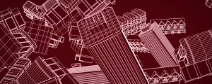 Live Events Stock Media - Falling Red & White Wire Mesh Buildings