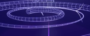 Live Events Stock Media - 3D Circular Blue & White Wire Mesh Tubes