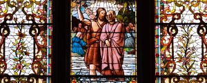 Live Events Stock Media - Church Window - Baptism of Jesus