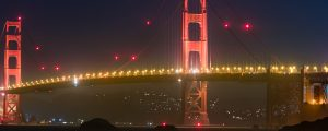 Live Events Stock Media - Golden Gate Bridge at Night from Beach