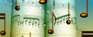 Live Events Stock Media - Spinning Gold Music Notes & Sheet Music