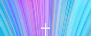 Live Events Stock Media - Chromatic Light Blue Burst Cross